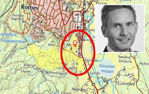 INDREFILET:Øyvind Moen i Betonmast (innfelt) har inngått avtale med Even Stovner om utvikling av Mo-området. Stovners eiendom er markert med skarp gult, mens delen det er gjort avtale om ligger innenfor den røde sirkelen.