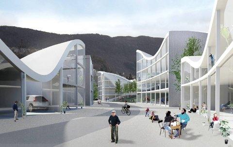 Bergen kommune har invitert unge arkitekter fra  hele Europa til å foreslå bruken av en tomt på Grønneviksøren på Møllendal. Her et et av bidragene.