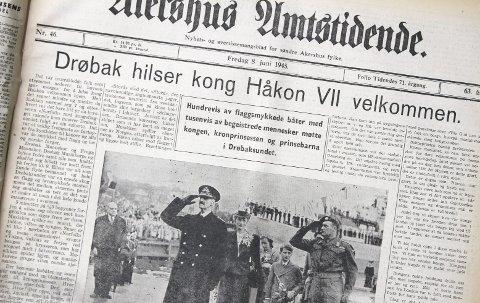 AMTA 8. JUNI: Akershus Amtstidende spanderte hele 1. siden og et «Drøbak hilser kong Haakon VII velkommen hjem» etter det som var en folkefest da kongen kom fra England. FAKSIMILE: AMTA 8. JUNI 1945.