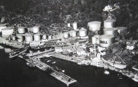 1936: Slik så anlegget ut på Granerudstøa i 1936, nytt kontorbygg er oppført og det står Shell på tankene. Alle FOTO: FRA VÅRE FIRE OLJEANLEGG.