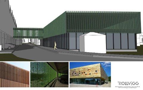 SKISSER: Dette er ikke et endelig forslag, men en tenkt skisse over hvordan det kan se ut dersom det kommer opp et nybygg der dagens skatepark og Røde Kors-hus ligger.
