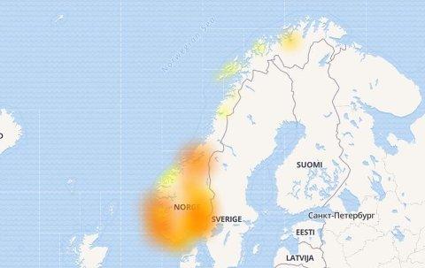 Nettstedet Downdetectors oversikt over Telenor-brudd de siste 24 timene viser at problemene fordeler seg over store deler av landet. Foto: Skjermbilde