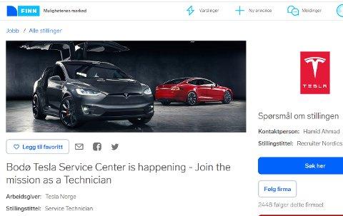 Tesla-annonsen på Finn som ble publisert onsdag.