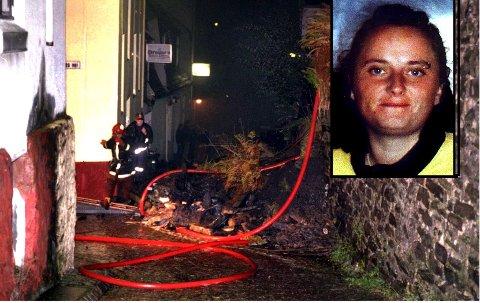 Nye Sandviksvei 52 ble herjet av brann i 1995. Ni år senere forsvant Trine Frantzen (innfelt). Et tips knyttet til denne branntomten om mulig dumping av et lik i mai 2004.