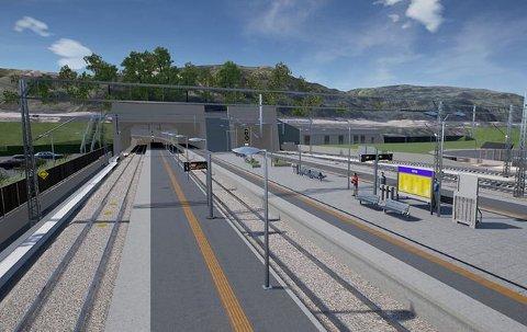 Arna stasjon skal se slik ut når prosjektet er ferdig. Illustrasjon: Bane NOR/Baezoni