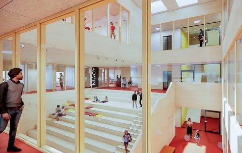 ATRIUM: Slik ser Longva arkitekter for seg at skolens atrium kan se ut, dersom politikerne i Krødsherad går inn for å bygge ny skole på Noresund.