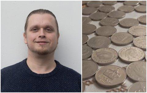 SELDE MYNTAR: Vegard Hjartholm vart overraska over engasjementet då han la ut gamle myntar til sals.