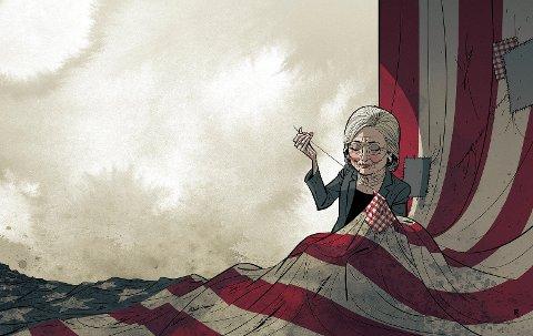CLINTON: Illustrasjon til kommentaren «Gjør Amerika Greit Igjen» av Fritjof Jacobsen.