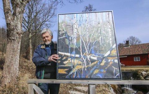 Nyeste serien: Odd Skullerud har malt mange  motiver fra skogen like ved hjemmet de siste årene. Du kan se flere av dem på Soli. 100 verk fra hans hånd henger oppe til 29. april.