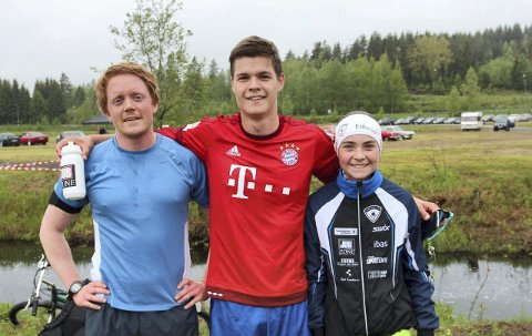 VINNERNE: Lars Austad (t.v.) tok andreplassen, Johan Rambøl Ruud ble nummer en og Sofie Mohn ble en god nummer tre under Vestmarka Rundt.