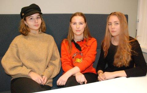 - IKKE LEGG NED LINJA VÅR: Det er Mari Oline Sundby (t.h.), Aurora Helmine Hagen Krekke og  Terese Strømme (t.v.) klare beskjed til fylkesopplæringssjefen.