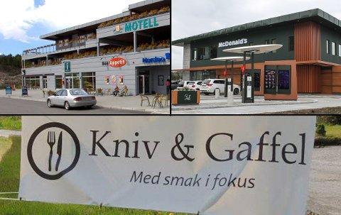 MEGET GODT BESTÅTT: Svinesund motell og kro (øverst til venstre), McDonald's og Kniv og gaffel fikk alle smilefjes i Mattilsynets septemberkontroll.