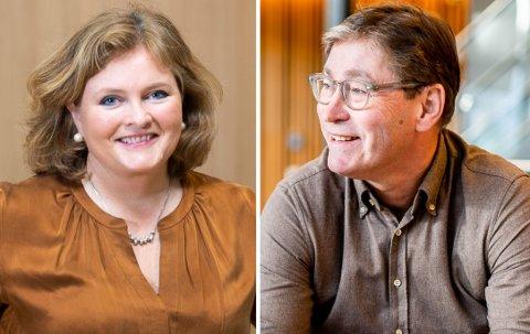 ULIKT SYN: Direktøren for kundeseksjonen i KLP, Cathrine Hellandsvi og Jon Hippe, leder for offentlig sektor i Storebrand svarer på spørsmål rundt den offentlige tjenestepensjonen.