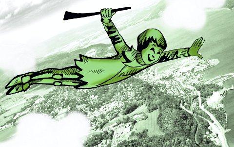 Som en trekkfugl: Peter Pan har atter landet etter å ha vært i «utlendighet» i nærmere seks år. Illustrasjon: Marianne Karlsen