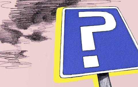 Parkeringsproblemer: Parkering er et tema som engasjerer både positivt og negativt i Holmestrand sentrum. Illustrasjon: Marianne Karlsen