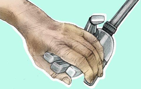 Mennesker eller maskiner? Debatten går om mye digital hjelp i hjemmet bidrar til mer ensomhet blant eldre. Illustrasjon: Marianne Karlsen