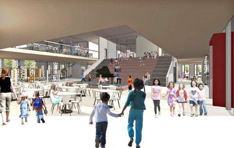 NY SKOLE: Dette er et miljøbilde fra hvordan det kan bli på den nye skolen på Stevningsmogen.