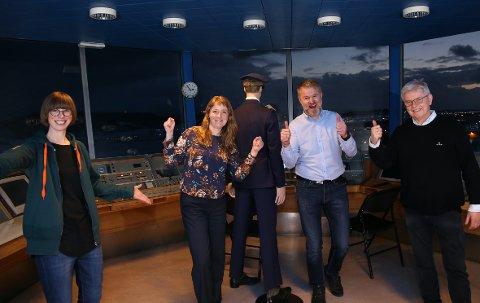 Jubel: God stemning ettet at regjeringen setter av over tre milliarder kroner til ny flyplass i NTP. Fra venstre: Ida Gudding Johnsen (V), Ingelin Noresjø (KrF), Lars Vestnes (H) og Ole Henrik Hjartøy (H).