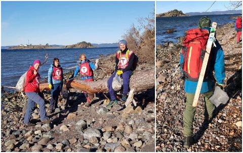 DUGNAD: Søndag ryddet DNT Vansjø-medlemmer rundt 30.000 meter av Jeløys kystlinje. Til høyre i bildet ser du ett av de mer merksnodige funnene.