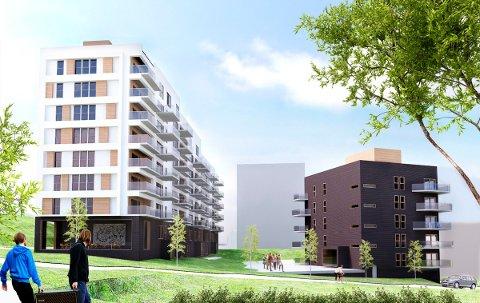 NYE MUNKELIA: Bygget som er vendt mot Langbølgen skal trappe ned fra åtte til fem etasjer. Konditoriet er planlagt vendt mot Mikrobølgen/T-banen. Skisse: TAG Arkitekter