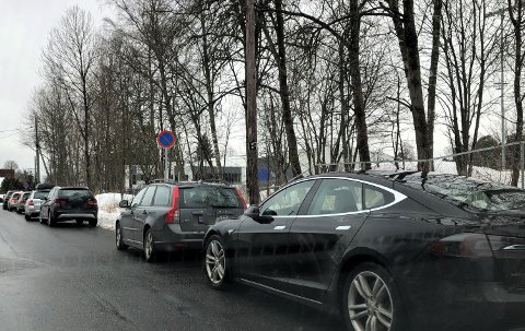 ULOVLIG: Mange setter bilen langs dette skogholtet, til tross for parkeringsforbudet. Hvis en trafikkvakt hadde vært tilstede da dette bildet ble tatt, ville det blitt utskrevet bøter for mange tusen kroner.