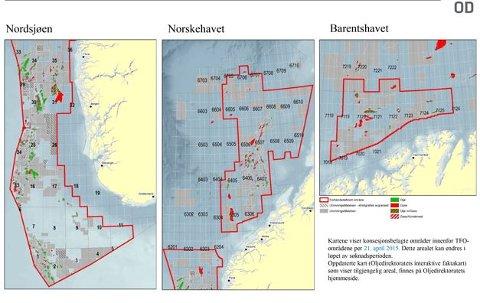 Kart over søkbart areal i forhåndsdefinerte områder ved utlysningstidspunkt