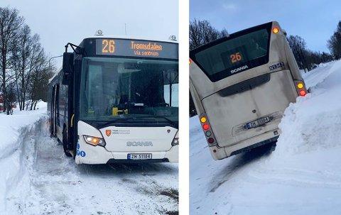 Her står bussen fast i bakken. Foto: Nordlys-tipser