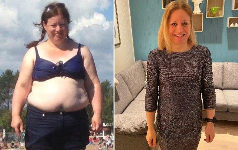 DA OG NÅ: Katrin Homann-Danielsen (46) har tatt av seg 40 kilo siden 2014. Foto: Privat