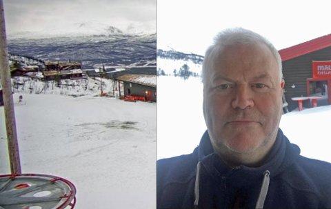 FOR LITE SNØ: Slik å det ut i Målselv Fjellandby tirsdag, der det er kommet lite snø så langt denne vinteren . Det betyr at daglig leder Øystein Johansen ikke kan åpne hele anlegg. Så langt har de produsert snø nok til at barnebakken kan åpne til helgen.