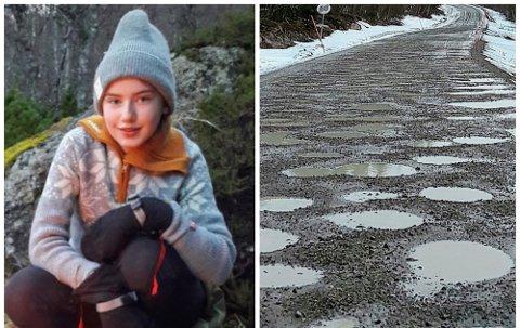 SKOLEVEI: Når skolebussen ikke kan kjøre den hullete Valvågveien, må Viktoria Ryvoll (13) og de andre elevene komme seg til skolen på annet vis.