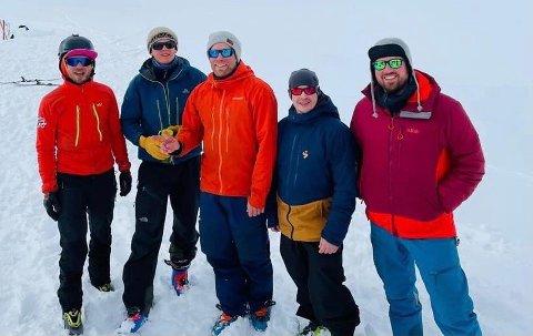 ARRANGØRENE: Fra venstre: Kristoffer Forsberg Olsen, Martin Arntsen, Knut Christian Michelsen, Ernst Magne Balboa Pedersen, Jørn T. Nerdal Foto: Privat