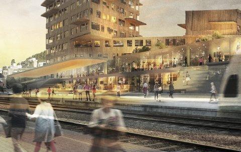 ETT AV INNSPILLENE: Sentrumsbygget åpnes opp også mot stasjonsområdet, og blir en del av denne. Sett fra stasjonens vestside. ILL: LPO ARKITEKTER