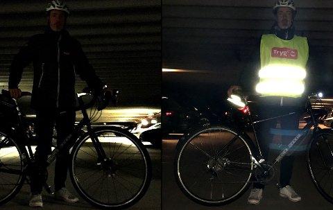 SLIK SKAL DET ikke VÆRE og være: Sykkelekspert Øyvind Setnes i Tryg Forsikring viser hvordan en syklist ser ut i høstmørket med og uten refleks. FOTO: Tryg/ANB