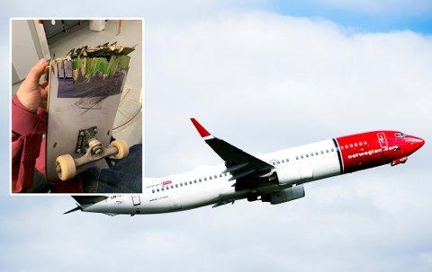 Slik så 38-åringens skateboard ut etter flyturen fra Oslo til Bergen. Foto: MAGNE TURØY/Privat (Innfelt)