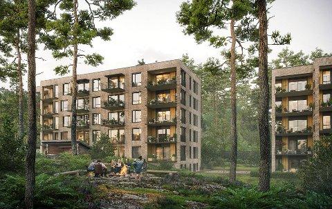 GOD START: 23 av 45 enheter er solgt av første byggetrinn av Langhus 1405, prosjektet til Selvaag Bolig på tomten etter gamle Vevelstad ungdomsskole. De 45 ligger i hus A og B.