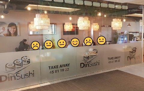 TO SURMUNNER PÅ ET ÅR: Din Sushi på Nordbyen har hatt hele seks smilefjestilsyn i 2020. To av gangene har de fått surmunn, det er svært sjelden man ser i forbindelse med slike tilsyn. De seks smileyene har ØP selvsagt lagt på bildet for å illustrere.