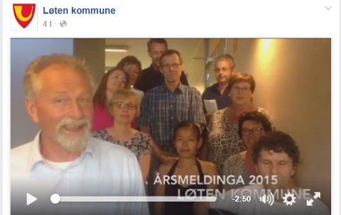 NY VRI: For å skape blest om årsmeldinga til Løten kommune, har de nå gitt den ut i sangs form. (Printscreen: Facebook)
