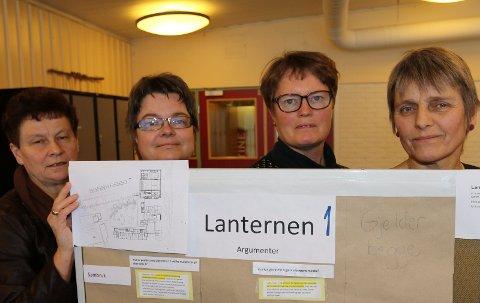 VIL HA DENNE:  Fra venstre Åse Lonkemoen Hansen, Anne Lena Uggerud, Tove Tyseng og Gunhild Ullerud som representater for Vålbyen-lærerne, og klare på at Lanternen 1 bør velges.