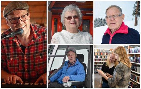 KANDIDATER: Fra venstre Evald Fjærgård, Solveig Nybakken, Svein Liven, Terje Nilssen og Løten folkebibliotek er blant de nominerte til årets priser i Løten.