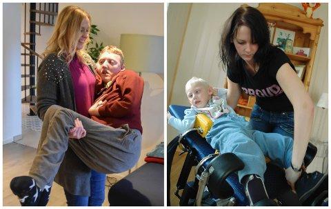 NÅ OG DA: Det er 14 år mellom de to bildene av Marcus og mamma. – Nå er han større enn meg, men jeg bærer ham fortsatt alene, sier Trude Nyborg.