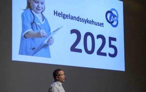 Per Martin Knutsen satte i gang Helgelandssykehuset 2025, men trakk seg fra stillinga som administrerende direktør da styret mot hans anbefaling i 2017, beholdt Hemnes og Leirfjord som tomtealternativer.
