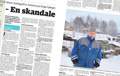 FRA ARKIVET: Sakens to på trykk i Ringerikes Blad 28. desember. Under snøen ligger store mengder avfall som Martin Greftegreff mener forurenser grunnen i Jevnaker. Det finnes mange fyllinger i Jevnaker kommune, flere av disse er delvis kartlagt av Miljødirektoratet.