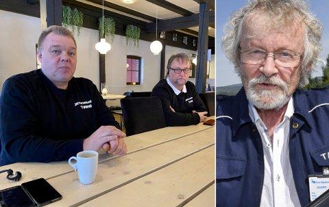 SORG OG SAVN: Vidar Gullheim (innfelt) døde 28. desember. Geir Lia (t.v.) og Geir Aspheim i Jevnaker taxi minnes en god kollega og venn.