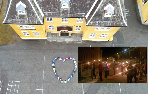 LYSMARKERING: Søndag kveld var det lysmarkering både på Miland skole og rundt på både Miland og Mæl før et tillyst dialogmøte mandag, etter at skolen er vedatt nedlagt i formannskapet.