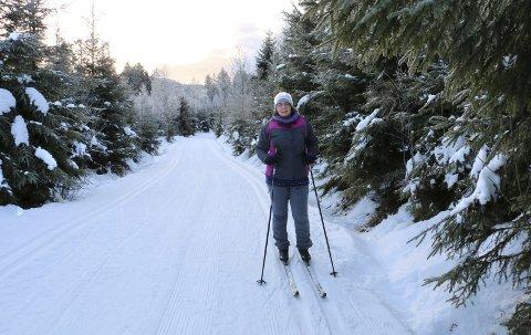 FORNØYD SKILØPER: Hege Marie Nilsen fra Sætre er strålende fornøyd med skisporene mellom Grytnes og Stikkvann. Hun tok turen onsdag morgen.