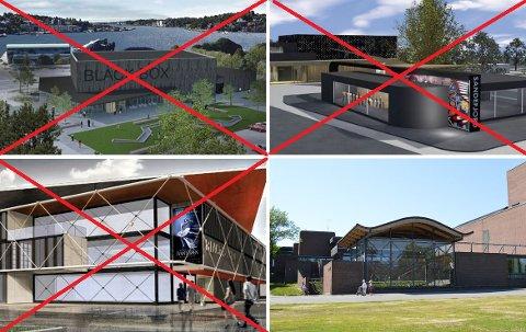 UTREDNING: Spir Arkitekter, Point og PV Arkitekter har tegnet et forslag til ny blackbox på Tivolitomta og i Thor Dahls gate. Nå skal Høyres alternativ utredes. Forslaget er at Hjertnes kulturhus kobles sammen med uteamfiet til flerbrukshall for kulturen.