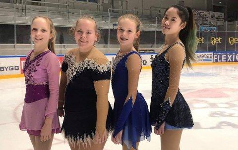 GODE RESULTATER I NORGESCUP: Fra venstre: Emma Linnea Eriksen, Christiane Krogfoss, Celine Michaelsen og Lily Truong.