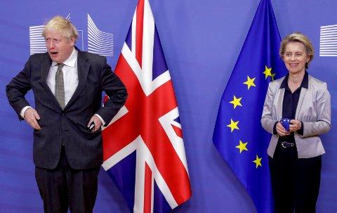 BREXIT: Europakommisjonens president, Ursula von der Leyen, og Englands statsminister Boris Johnson før et av møtene i EUs hovedkvarter i Brussel.