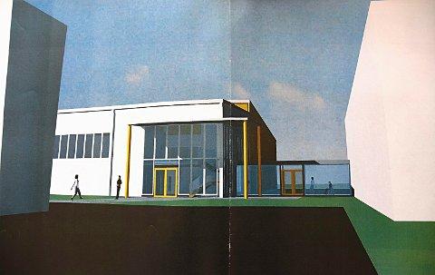 Nærmer seg: Idrettshallen på Knapstad kan åpne til skolestart 2018. Denne illustrasjonen viser hvordan hallen skal se ut.