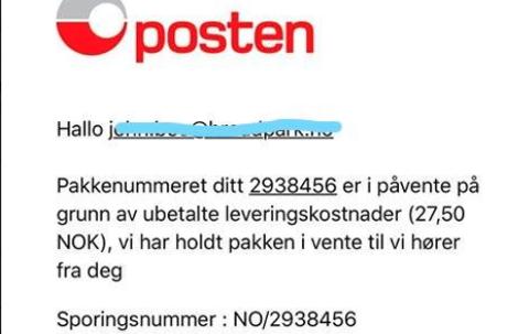 ADVARER: Posten selv har gått ut i sosiale medier for å advare mot svindelforsøkene, som skal foregå både på epost og SMS. Foto: Skjermdump